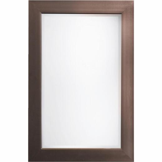 Erias Home Designs Austin 24 In. W. x 36 In. H. Antique Pewter Plastic Framed Wall Mirror