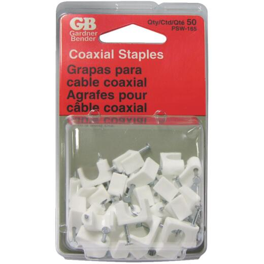 Gardner Bender 1/4 In. Plastic White Coaxial Staple (50-Count)