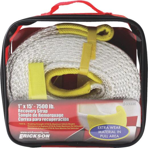 Erickson 1 In. x 15 Ft. 3750 Lb. Polyester Recovery Tow Strap, White