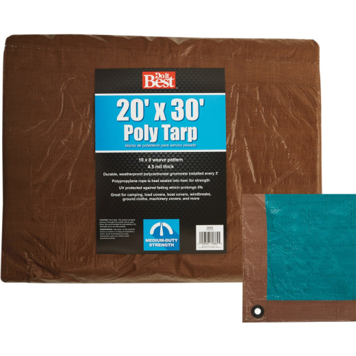 Do it Best 1 Side Green/1 Side Brown Woven 20 Ft. x 30 Ft. Medium Duty Poly Tarp