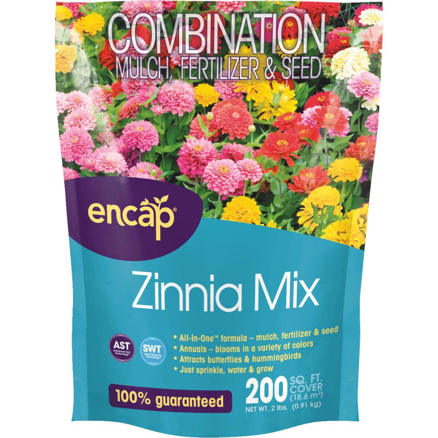 Encap All-In-One 2 Lb. 200 Sq. Ft. Coverage Zinnia Wildflower Seed Mix Image 1
