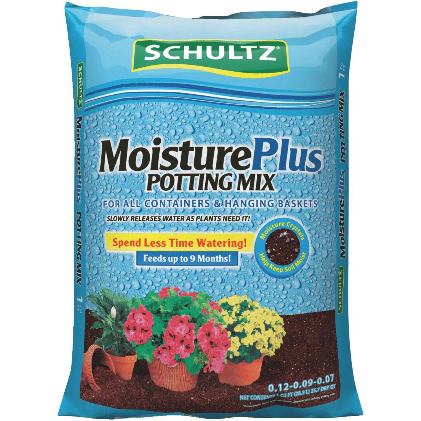 Schultz MoisturePlus 1 Cu. Ft. 23-1/2 Lb. All Purpose Containers & Hanging Baskets Potting Soil Image 1