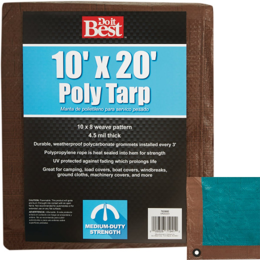 Do it Best 1 Side Green/1 Side Brown Woven 10 Ft. x 20 Ft. Medium Duty Poly Tarp